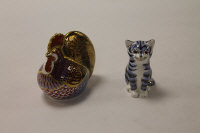 Two Royal Crown Derby English bone china paperweights : Cockerill, height 9 cm, and Silver Tabby, height 8 cm, both boxed. (2)
