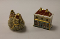 Two Royal Crown Derby English bone china paperweights : Farmyard Hen, height 8 cm, and The China Shop, height 9 cm, both boxed.  (2)
