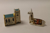 Two Royal Crown Derby English bone china paperweights : Llama, height 13 cm, and Church, height 11.5 cm, both boxed. (2)