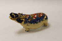 A Royal Crown Derby English bone china paperweight : Hippopotamus, length 20 cm, boxed.
