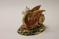 A Royal Crown Derby English bone china paperweight : Wessex Wyvern, height 13 cm, boxed.