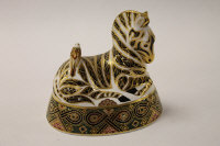 A Royal Crown Derby English bone china paperweight : Zebra, height 13.5 cm, boxed.