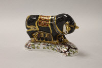 A Royal Crown Derby English bone china paperweight : Grecian Bull, height 13.5 cm, boxed.