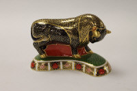 A Royal Crown Derby English bone china paperweight : Bull, height 14 cm, boxed.