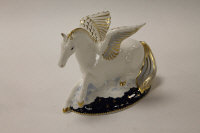 A Royal Crown Derby English bone china paperweight : Pegasus, height 12 cm, boxed.