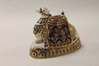 A Royal Crown Derby English bone china paperweight : Camel, height 17.5 cm, boxed.