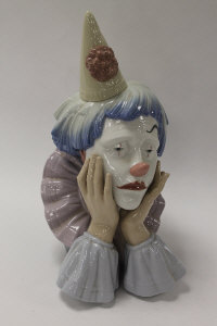 A Lladro china figure - Clowns Head, height 32 cm, with mahogany stand, boxed.