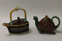 Two Minton Archive Collection teapots - Cat and Mouse, height 19 cm, and Tortoise, height 10 cm, boxed. (2)