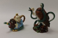 Two Minton Archive Collection teapots - China Man, height 15 cm, and Vulture and Python, height 24 cm, boxed. (2)