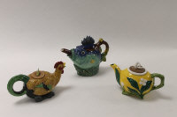 Three Minton Archive Collection teapots -  Mushroom, height 12 cm, and Fish, height 18 cm, Cockerel, height 12 cm, boxed. (3)