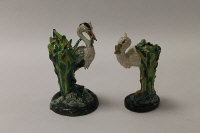 Two Minton in miniature china figures - Heron, height 19 cm, and Stork, height 16 cm, boxed. (2)