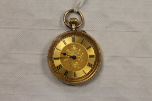 A 14ct gold fob watch, 39.5g.