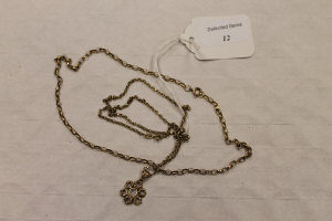 A 9ct gold necklace with pendant, together with another 9ct chain necklace, 11.5g.