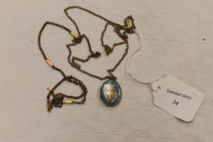 Two 9ct gold necklaces together with an enamelled pendant. (3)