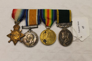 A group of four WW I medals to 2nd Lieut. E. Carr, on suspension ribbons and bar.
