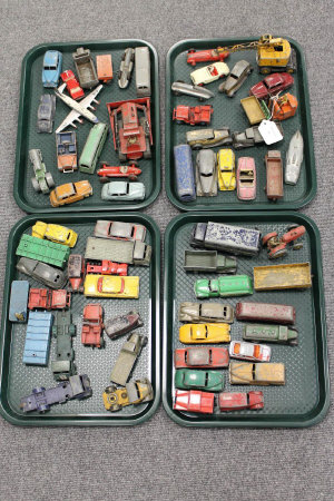 A large collection of Dinky and other cast vehicles. (Q)