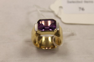 A 14ct gold amethyst ring.