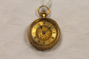 An 18ct gold fob watch.