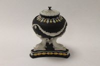 A Wedgwood pot pourri jar and cover, in tri-coloured black jasper ware, height 15 cm, boxed.
