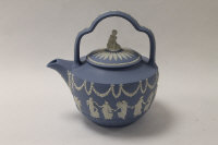 A Wedgwood Rum Kettle, in blue and white jasper ware, height 23 cm, boxed.