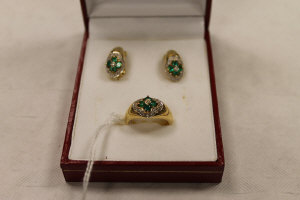 A pair of continental yellow metal diamond and emerald earrings, together with the matching ring. (3)