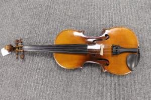 A French violin by Jerome Thibonville Lamy, branded upon the back Marquise  de lair, labelled within, full size with bow, cased.