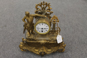 A nineteenth century gilt metal mantle clock, height 41.5 cm.