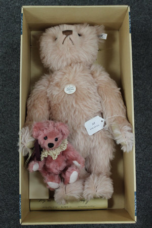 A limited edition Steiff bear 1927 Rose 48, boxed,  together with two other miniature bears. (3)