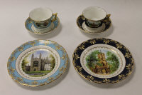 Two Wedgwood china trio sets depicting views of Oxford and Cambridge, both sets boxed. (6)