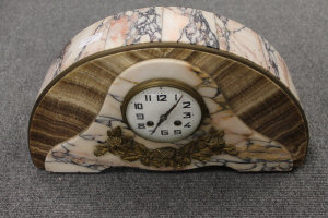 A French domed marble mantle clock, width 45.5 cm.