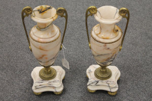 A pair of ormolu mounted marble vases, height 39.5 cm. (2)