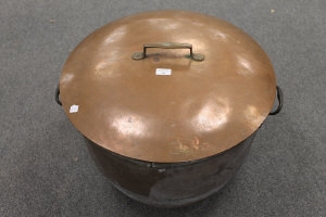 A French copper cooking pot with lid, diameter 60 cm.