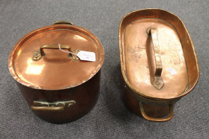 Two French copper pots with lids. (2)