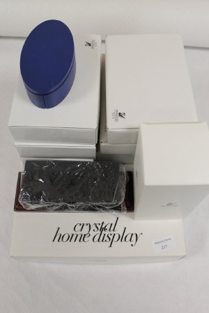 A Swarovski crystal home display stand, together with a collection of Swarovski crystal stands, boxed. (Q)