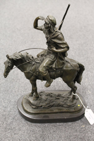 After Paillet - bronze study of an Arab on horse back, on marble plinth, height 36 cm.
