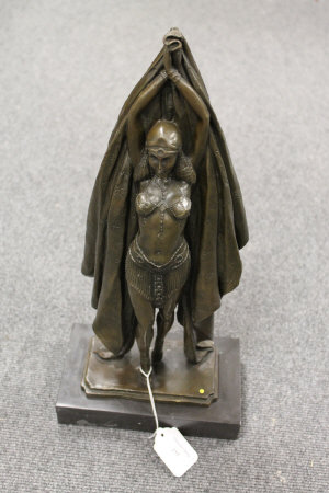 After D.H.Chiparus - bronze study of an Art Deco style dancer with arms raised, on marble plinth, height 47 cm.