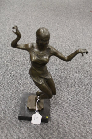 After D.H.Chiparus - bronze study of an Art Deco dancing lady, on marble plinth, height 39 cm.