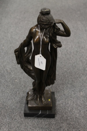 After Moreau - bronze study of a naked lady with shawl, on marble plinth, height 42.5 cm.