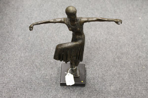 After D.H.Chiparus - bronze study of a dancer with knee raised, on marble plinth, height 42 cm.