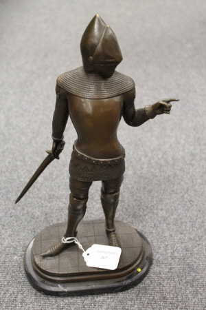 After Clinet - bronze study of a knight in armour, on marble plinth, height 38 cm.