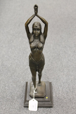 After D.H.Chiparus - bronze study of an Egyptian style dancer, on marble plinth, height 44 cm.