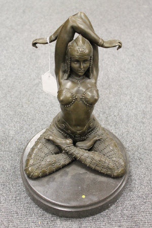 After D.H.Chiparus - bronze study of an Egyptian style dancer with legs crossed, on marble plinth, height 29 cm.