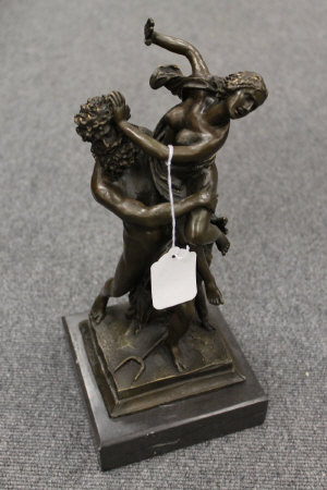 After Bologna - bronze study of Neptune and a maiden, on marble plinth, height 36.5 cm.