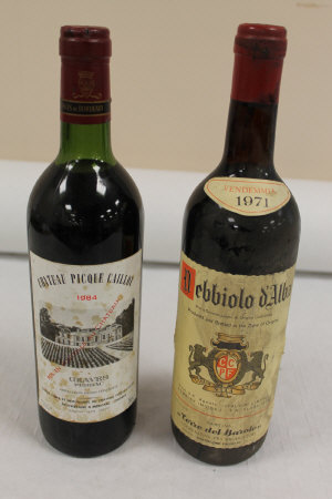 Ten bottles of red wine - Chateau Picque Caillou 1984, Debbiolo d'Alba 1971 and others. (10)