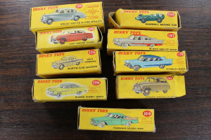 A Dinky Toys Rolls-Royce Silver Wraith 150, together with eight other Dinky vehicles, all parts boxed. (9)