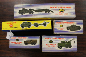 A Dinky Toys 25-Pounder Field Gun Set 697, together with Dinky Centurian Tank 651, Recovery Tractor 661, Tank Transporter 660 and Medium Artillery Tractor 689, all parts boxed. (5)