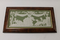 A Wedgwood Genius Collection plaque depicting Selene Visiting Endymion, sage green jasper ware, width 42 cm, framed, boxed.