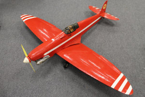 A motor-driven hand built model aeroplane, wing span 165 cm.