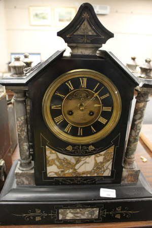 A Victorian marble and slate mantle clock, height 48 cm.