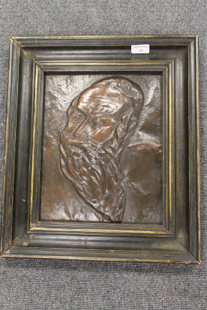 Jewish School : A portrait of a Rabbi, relief work on copper, initialled E.J. '43, 25 cm x 32 cm, framed.